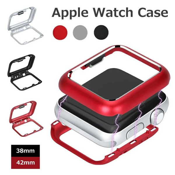 Apple Watch ケース カバー 保護ケース アルミ 合金 簡単装着 吸着設計 磁石 アップルウォッチ カバー ケース アルミニウム 薄型 高耐久性 38mm  42mm