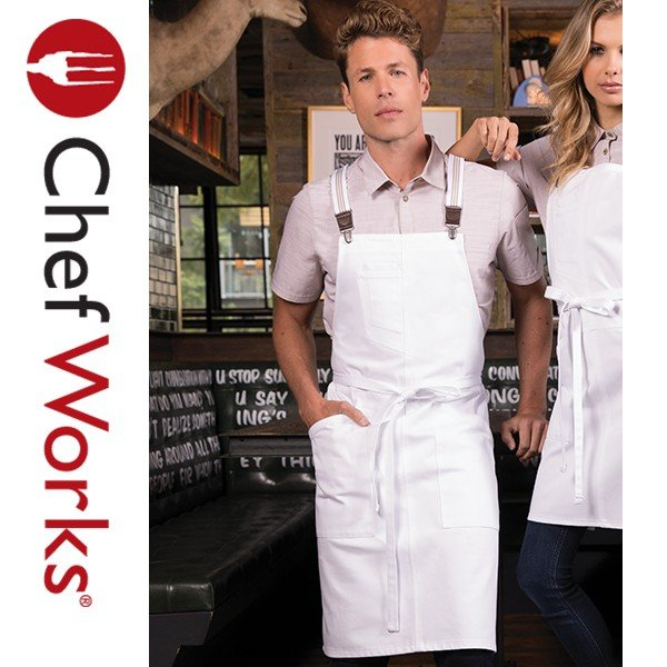 Chef Works(シェフワークス) BERKELEY (バークレー)  胸当てエプロン PETITE BIB スモールエプロン サスペンダー 付け替え可能 ホワイト 白|inkbank|04