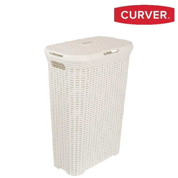 ラタン調ランドリーバスケット40L:ホワイト(CV193010)【CURVER 収納 ランドリーバスケット 洗濯かご ランドリー収納 洗濯物入れ】