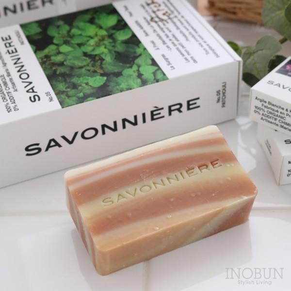 フランス製ソープ サヴォニエール 石けん SAVONNIERE レッドクレイとカリテバター 100g パチュリの香り