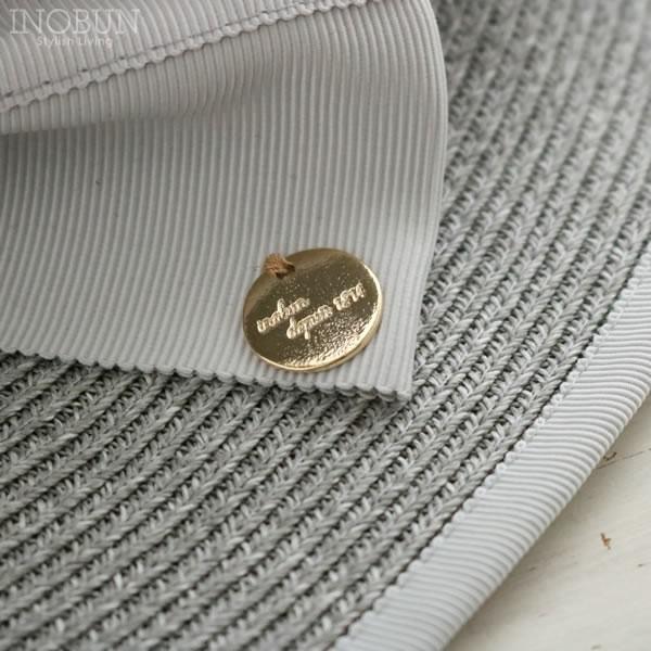 縁ライン リボンハット チャーム付き 帽子 INOBUN イノブンオリジナル グレー【メール便不可】