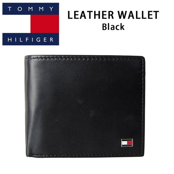758cc303248e トミー ヒルフィガー 二つ折り財布 サイフ 財布 レザー 黒 ブラック Black TOMMY HILFIGER 二つ折り レザー ...