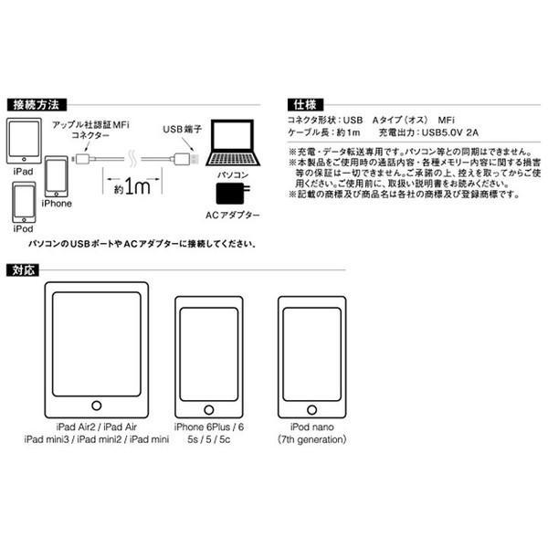 USB ケーブル データ転送 iPad iPod専用 パソコン Ligtning USB ケーブル MFI認証 AMP-005 アクセス (メール便)