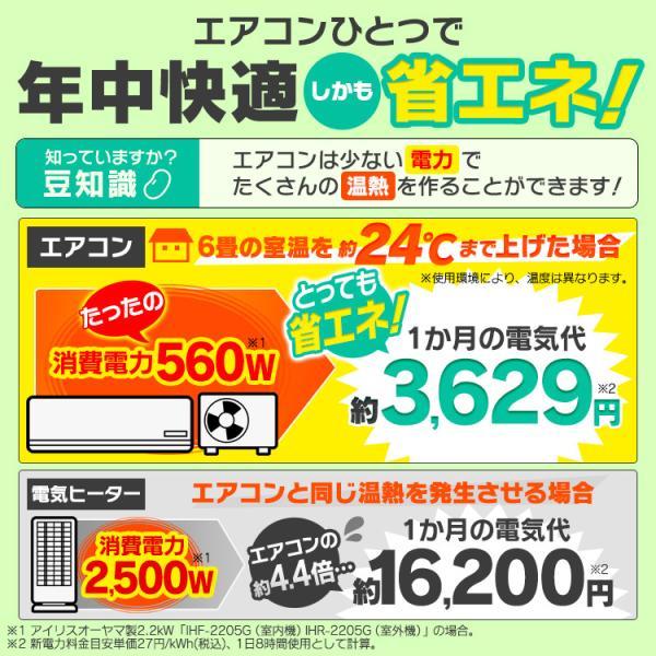 エアコン 6畳 Wi-Fi スマホ アイリスオーヤマ 6畳用 IRA-2201W 2.2kW|insdenki-y|02