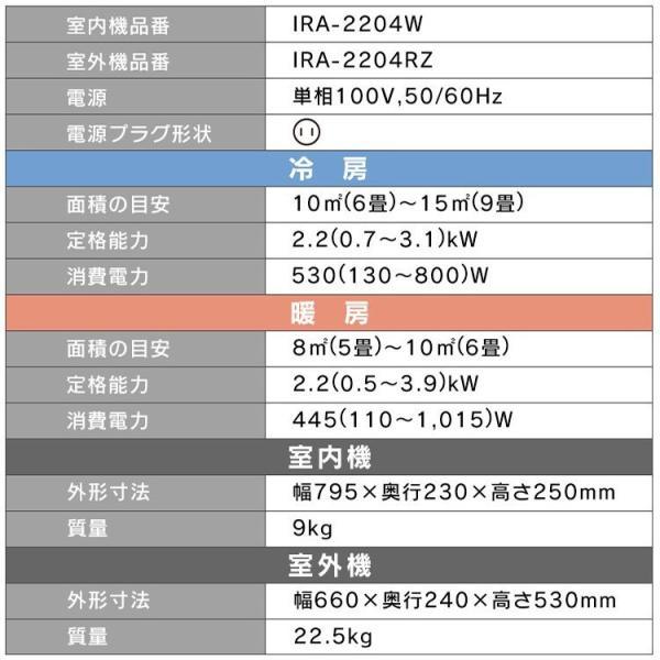 エアコン 6畳 Wi-Fi スマホ アイリスオーヤマ 6畳用 IRA-2201W 2.2kW|insdenki-y|20