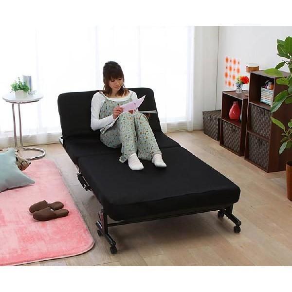 ベッド シングル 折りたたみ 折りたたみベッド 安い リクライニング 収納 低反発 OTB-TRコンパクト 完成品 折り畳み 布団 寝具|inskagu-y|02