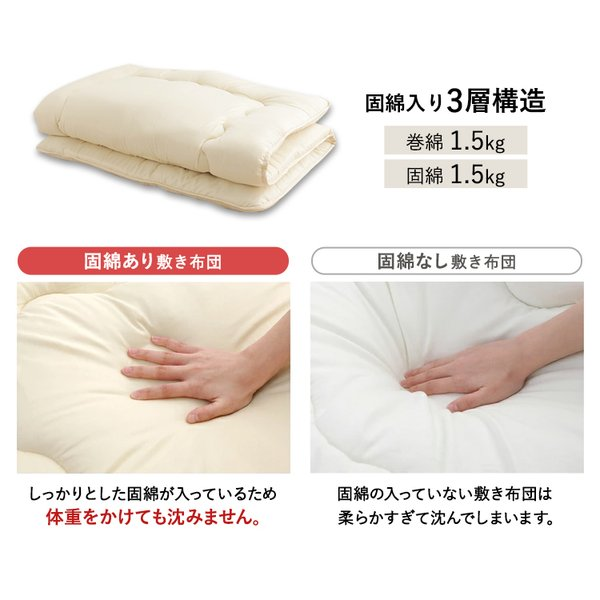 布団セット シングル 7点セット 敷き布団 掛け布団 シンプル チェック ふとん 安い 枕 固綿入り シンプル 新ふわとろ S|inskagu-y|09
