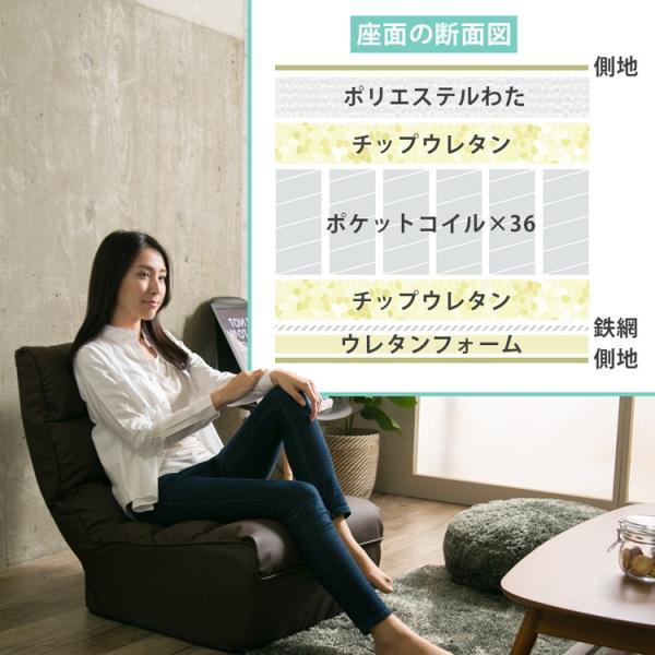 座椅子 おしゃれ ソファ リクライニング 合皮 レザー ファブリック 座いす 座イス ポケットコイル ボリューム 1人掛け ブレッド CG-862-FAB (D) (在庫処分)|inskagu-y|05