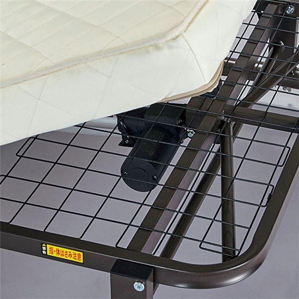 送料無料高反発ウレタン電動ベッド/折りたたみベッド 〔シングルサイズ〕 リモコン操作 リクライニング スチールフレーム