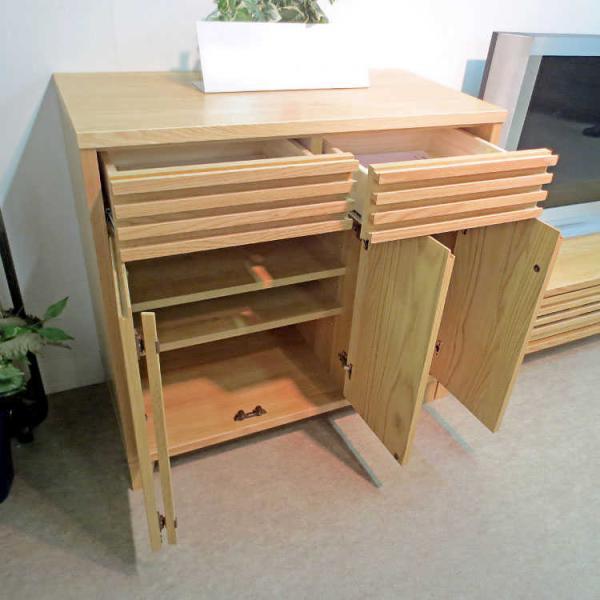 天然木無垢材製・モダン格子サイドボード(幅90cm)★|interial|04