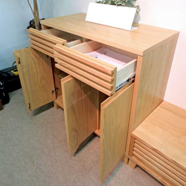 天然木無垢材製・モダン格子サイドボード(幅90cm)★|interial|05