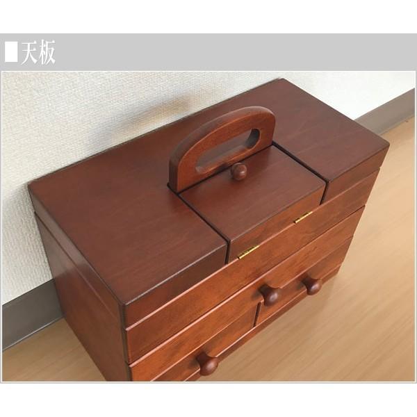 ソーイングボックス おしゃれ 裁縫箱 木製 針箱 和風 母の日 敬老の日|interior-bagus|05