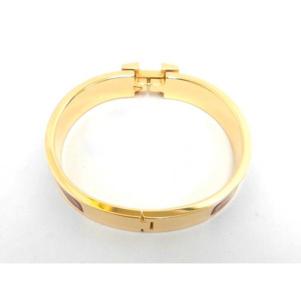 【中古】【新品同様】HERMES Hバングル クリッククラックPM ブレスレット レッド×ゴールド金具