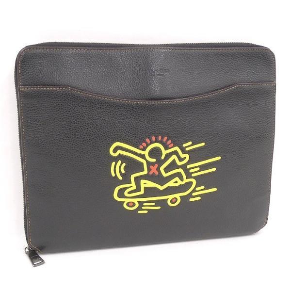 【中古】コーチ クラッチバッグ ipadケース キース ヘリング レザー ブラック F12029