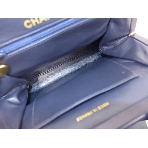 【美品】CHANEL がま口 ハンドバッグ ジャージー コットンキャンバス ネイビー