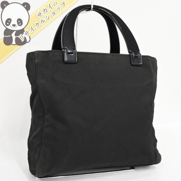 【中古】PRADA トートバッグ/ハンドバッグ ナイロン プラスチック ハンドル ブラック B8364