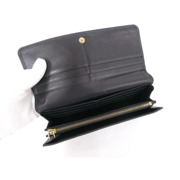 【中古】LOEWE 二つ折り長財布 レザー ブラック