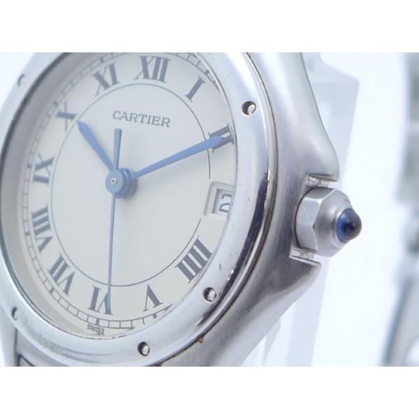 【中古】Cartier レディース腕時計 パンテールクーガーSM クオーツ SS アイボリー文字盤