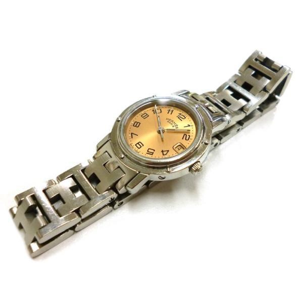 HERMES レディース腕時計 クリッパー SS クオーツ サーモンピンク文字盤