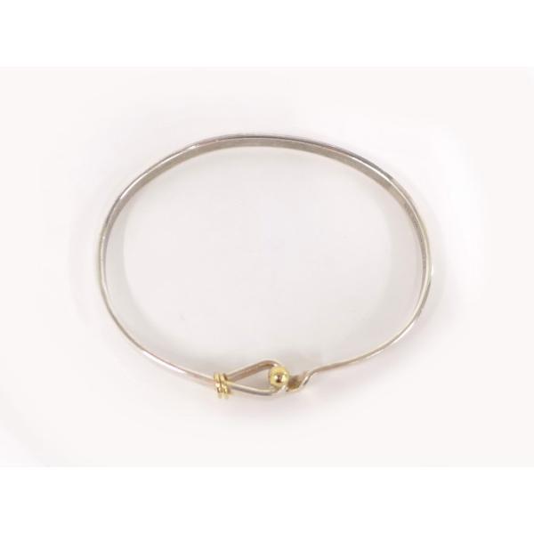 【中古】Tiffany&Co. フラットワイヤー バングル アクセサリー sv925/750 シルバー/ゴールド 12.6g