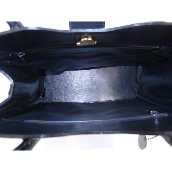 【美品】JRA ジェイアールエー クロコダイル ハンドバッグ トートバッグ ブラック ゴールド金具
