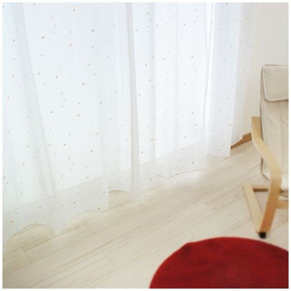 刺繍ボイルレースカーテン RH412星と月 巾100cm×丈103・133cm 巾150cm×丈176・198cm CSZ