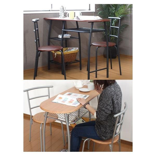 ダイニングテーブル 3点セット カウンターテーブル 2人用 パイプ 収納付き おしゃれ 処分セール interior-festa 02