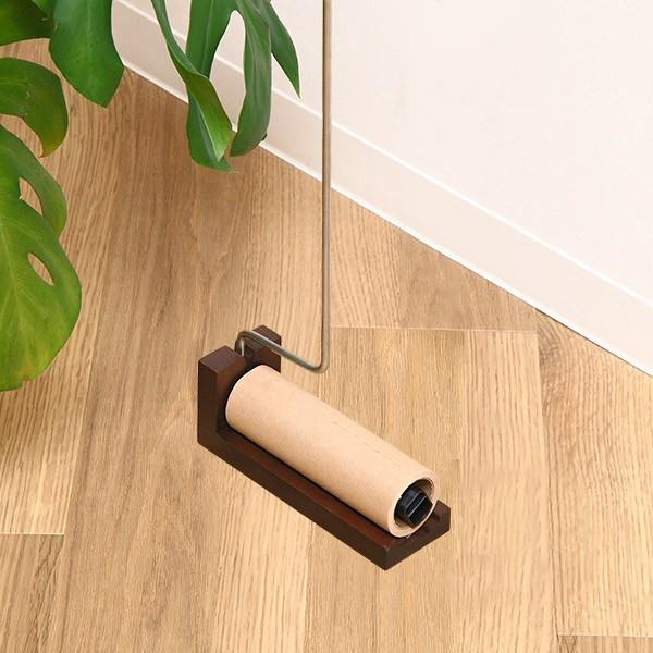 カーペットクリーナー 木製 ロング スタンド付き 粘着クリーナー ( 掃除 粘着ローラー ロールクリーナー )