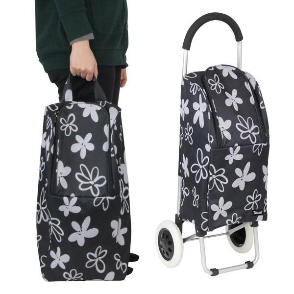 ショッピングカート 大容量 折りたたみ アルミ製 バッグ付 花柄 ( カート 折り畳み 2輪 アルミ キャリーカート バッグ 取り外し )