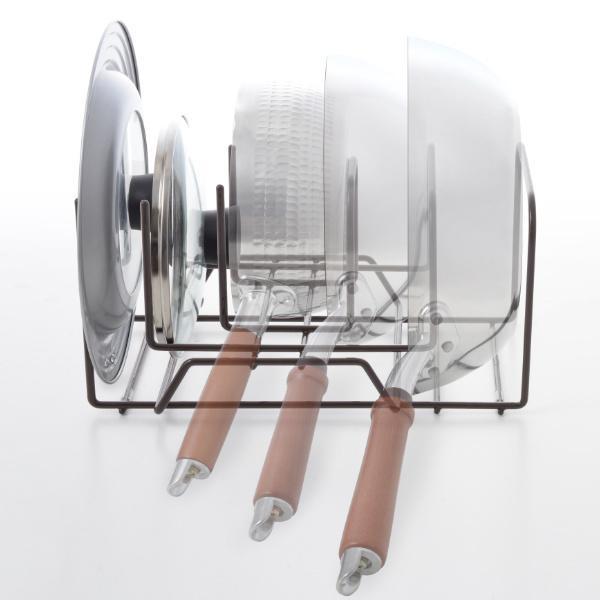 フライパン収納 重ねて立てられるフライパンスタンド フライパン&鍋ブタスタンド ( フライパンスタンド 鍋フタスタンド 鍋蓋立て シンク 下 )