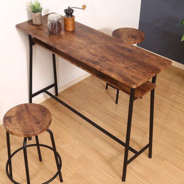 カウンターテーブル 幅120cm キッチンテーブル スチール脚 木目調 ヴィンテージ調 収納 ラック おしゃれ テーブル ( 机 ハイテーブル ダイニングテーブル )