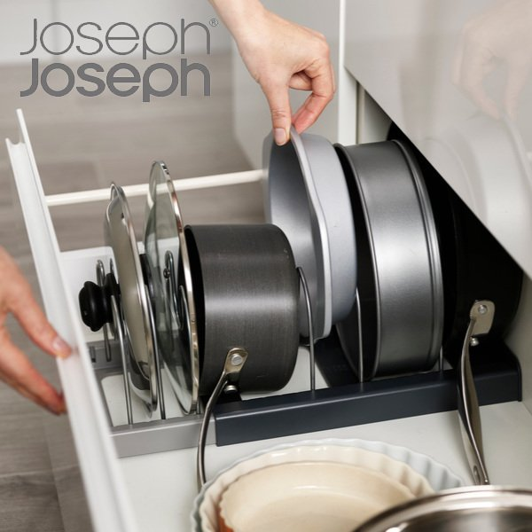 Joseph Joseph ジョセフジョセフ フライパン 鍋蓋 スタンド シンク下 伸縮式 ドロワーオーガナイザー クックウェア ( フライパンスタンド 伸縮 引き出し )