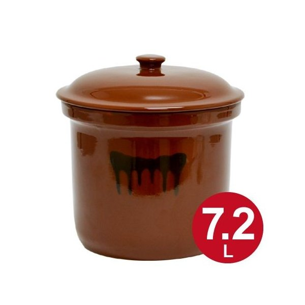 漬物容器 切立かめ 4号 7.2L 蓋付き 陶器 ( 漬物樽 つけもの容器 漬け物容器 )