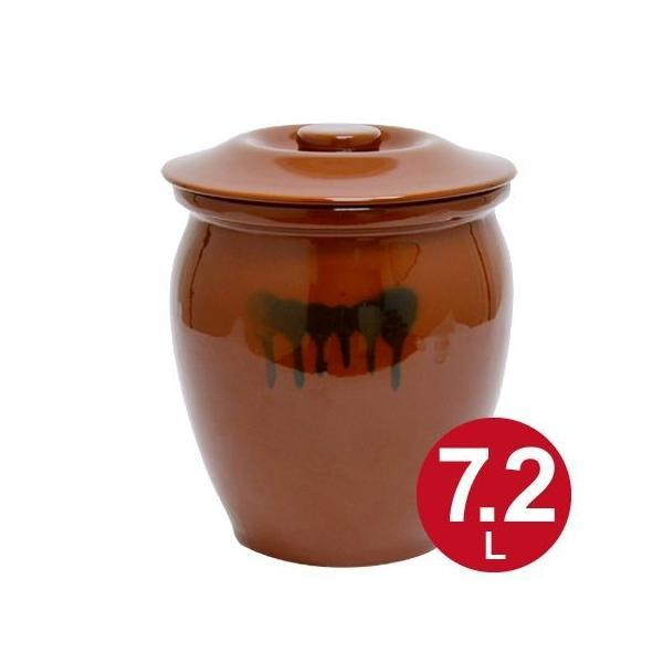 漬物容器 丸かめ 4号 7.2L 蓋付き 陶器 ( 漬物樽 つけもの容器 漬け物容器 )