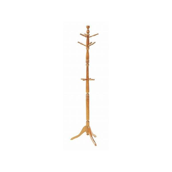 ポールスタンド 天然木 ブラウン( コートハンガー ハンガーラック 木製 )