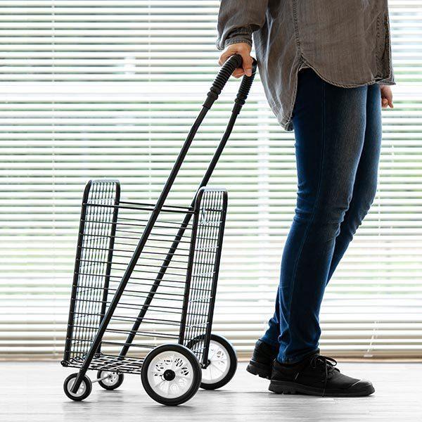 ショッピングカート 折りたたみ 4輪 大容量 おしゃれ シンプル キャリーカート ( ワイヤーカート スチール製 ワイヤー カート 買い物カート ショッピング )