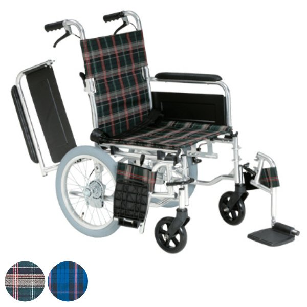 多機能車いす 跳ね上げ式スイングアウトタイプ 介助式背折れ型 チェック柄 非課税 ( 車イス 車椅子 )