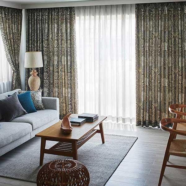 川島セルコン 高級オーダーカーテン filo filo縫製 約2.3倍ヒダ Morris Design Studio いちご泥棒 FF1008〜1011