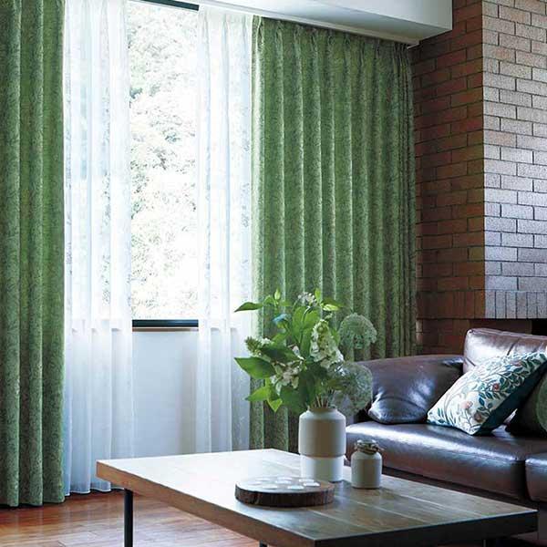 川島セルコン 高級オーダーカーテン filo filo縫製 約2.3倍ヒダ レース ヨコ使い・裾刺繍 Morris Design Studio いちご泥棒シアー FF1049・1050