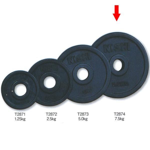 ニシスポーツ SDラバープレート50 直径50mmバー用 ラバーコーティングタイプ 7.5kg T2874