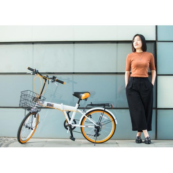折りたたみ自転車 20インチ 軽量 カゴ付き 荷台付き 一年安心保障 シマノ6段変速 鍵 ライト付 送料無料|iofficejp|14