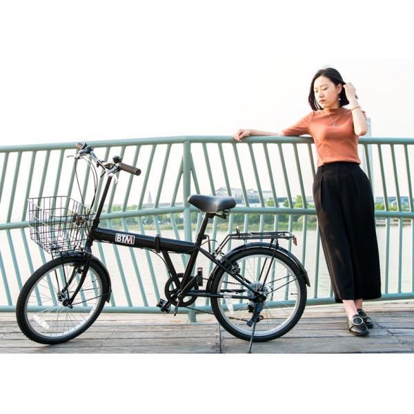 折りたたみ自転車 20インチ 軽量 カゴ付き 荷台付き 一年安心保障 シマノ6段変速 鍵 ライト付 送料無料|iofficejp|15