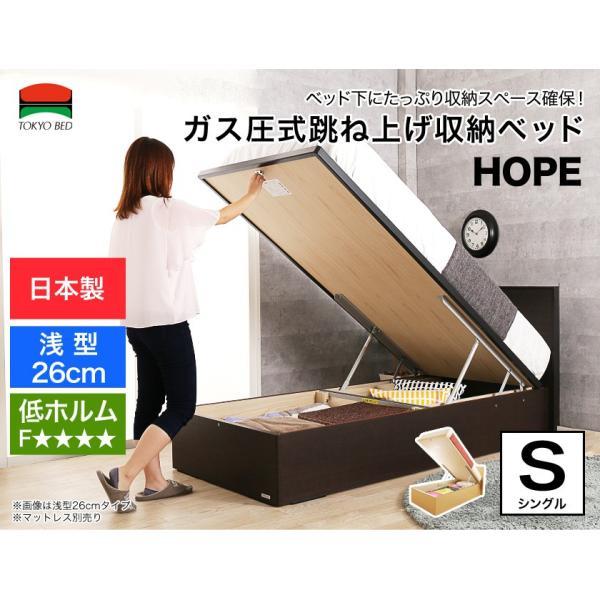 跳ね上げ 収納ベッド 日本製 ホープF リフトアップ収納 ガス圧式  低ホルム 東京ベッド TOKYOBED シングル 木製ベッド  ベッドフレームのみ パネル型ベッド ioo-neruco 02