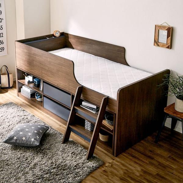 8/24〜8/26プレミアム会員10%OFF! 木製収納ベッド RAUM(ラウム) シングル 棚付きロフトベッドとチェストがセット 収納付ベッド|ioo-neruco|10