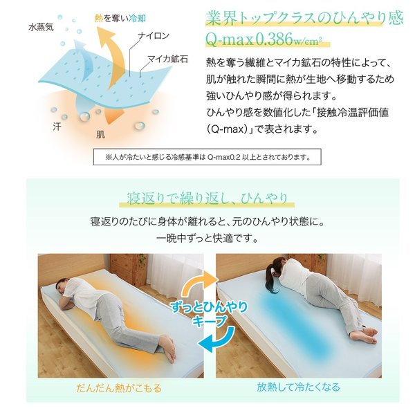 敷きパッド クイーン モフア クール寝具 ベッドパッド mofua cool 接触冷感 通気性に優れた エアーパッド Q ゴムバンド付き 洗濯機丸洗い|ioo|04