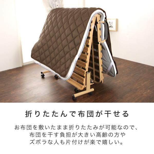 折りたたみすのこベッド シングル ハイタイプ 折りたたみベッド 樹脂すのこ Vindar2  防カビ 湿気対策 簡易ベッド ioo 06