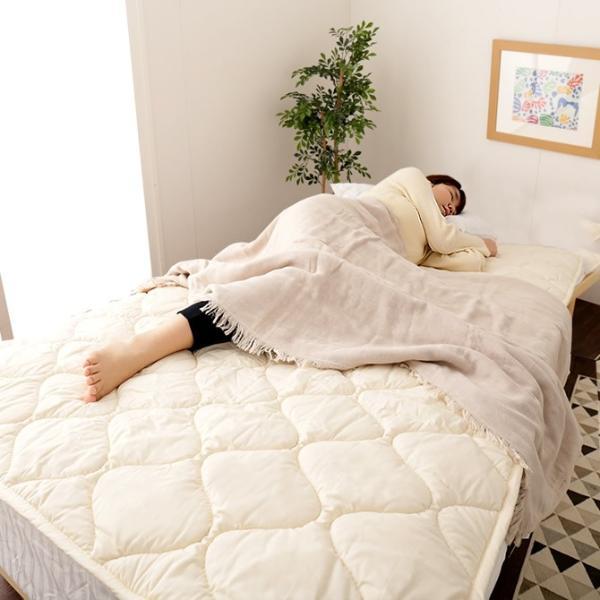 8/16〜8/20プレミアム会員5%OFF! 羊毛100% ベッドパッド セミダブルロング 敷きパッド 敷パッド ベットパット|ioo|02