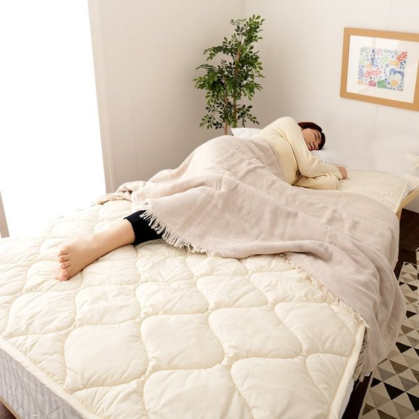 羊毛100% ベッドパッド クイーン 敷きパッド 敷パッド ベットパット ioo 02