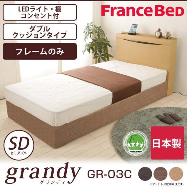 フランスベッド 棚付き コンセント付き 照明付  Wクッション フレームのみ 高さ22.5cm 日本製  セミダブル GR-03C|ioo