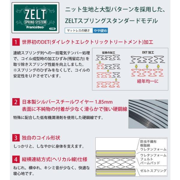 フランスベッド ダブル ダブルクッションタイプ ゼルトスプリングマットレス(ZT-030)セット 高さ22.5cm グランディ 棚付 コンセント付 照明付 LED ベット ioo 06